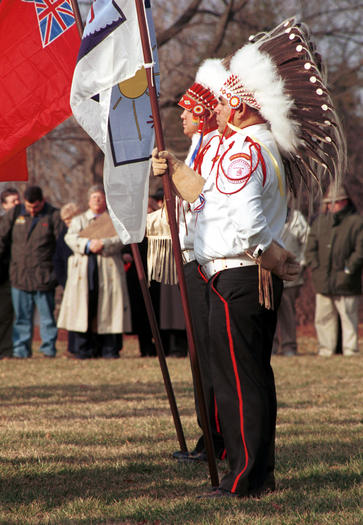 Blackfeet tribal members in color guard for opening, 1.14.03, of Jefferson's West, Thomas Jefferson and the Lewis and Clark Expedition, the first signature event of the Lewis and Clark Bicentennial, on the west lawn at Monticello.