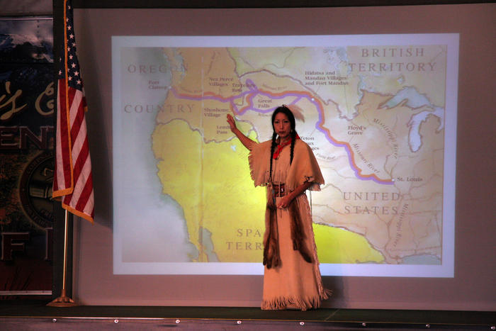 Amy Mossett, Bismarck, ND, in the Tent of Many Voices at Corps of Discovery II: 200 Years to the Future. Oct. 21, 2005, at Tamastslikt Cultural Institute near Pendleton, Oregon. Mossett spoke to school children about Sacagawea, the Lemhi-Shoshone-born woman who accompanied the Lewis and Clark Expedtion in 1805-06, from Fort Mandan to the Pacific Ocean and return to the Knife River Indian Villages in present day North Dakota.